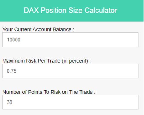 DAX Traders need to calculate the correct lot size