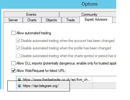MT4 to Telegram settings