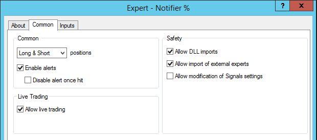 MT4 to Telegram notifier settings